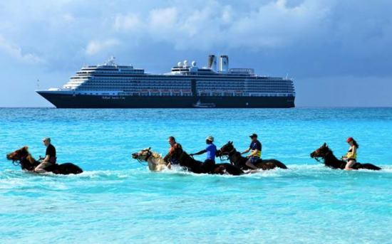 Holland America Line's latest edition to the fleet, ms Nieuw Amsterdam, at Half Moon Cay Bahamas. Photo by Marco van Belleghem, Nieuw Amsterdam's hotel manager.