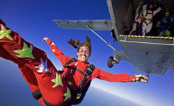 Solo skydiver is all smiles at the last Keys Boogie, in 2006. Photos courtesy of Skydive Sebastian.