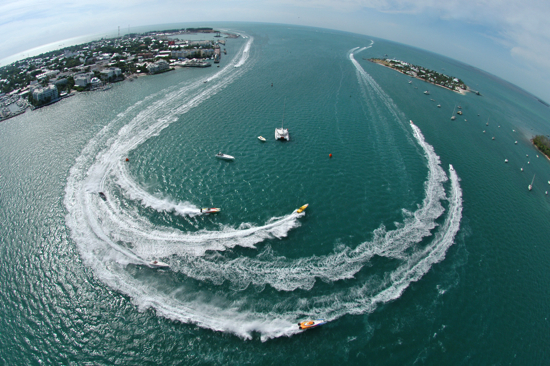 In this photo released by the Florida Keys News Bureau, offshore power race boats make the turn in Key West, Fla., Harbor during the third of three days of racing at the Key West World Offshore Championship . The event attracts over 70 high-speed boats from as far away as Europe each year. The 2010 Key West World Championship is slated for Nov. 7-14.